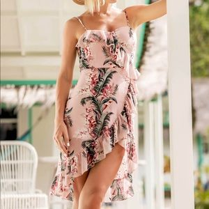 Ruffle Trim Asymmetrical Floral Dress
